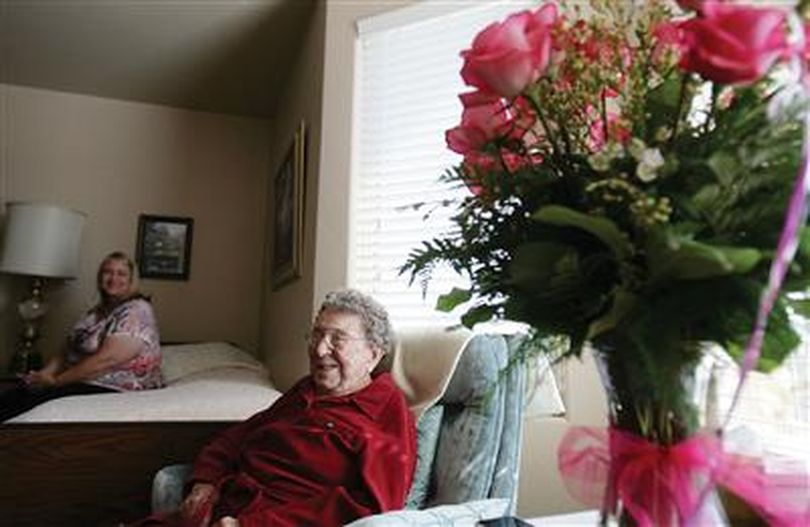 Helene Byrne, 110, talks about her life experiences while her granddaughter Christine Geisel listens in the background Thursday in Buhl. Byrne grew up in north Idaho and says she enjoyed her childhood on Lake Coeur d'Alene. (AP/Times-News)