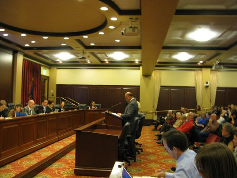 Sen. Edgar Malepeai presents the 'Add The Words' bill on Friday morning (Betsy Russell)