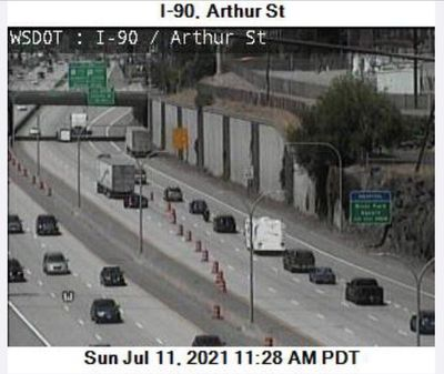 Traffic is seen backed up on westbound Interstate 90 near the Division Street exit Sunday.  (Washington State Department of Transportation)