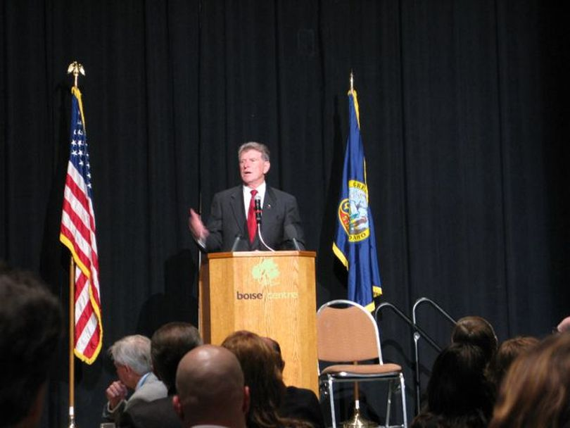 Idaho Gov. Butch Otter addresses the Associated Taxpayers of Idaho on Wednesday (Betsy Russell)