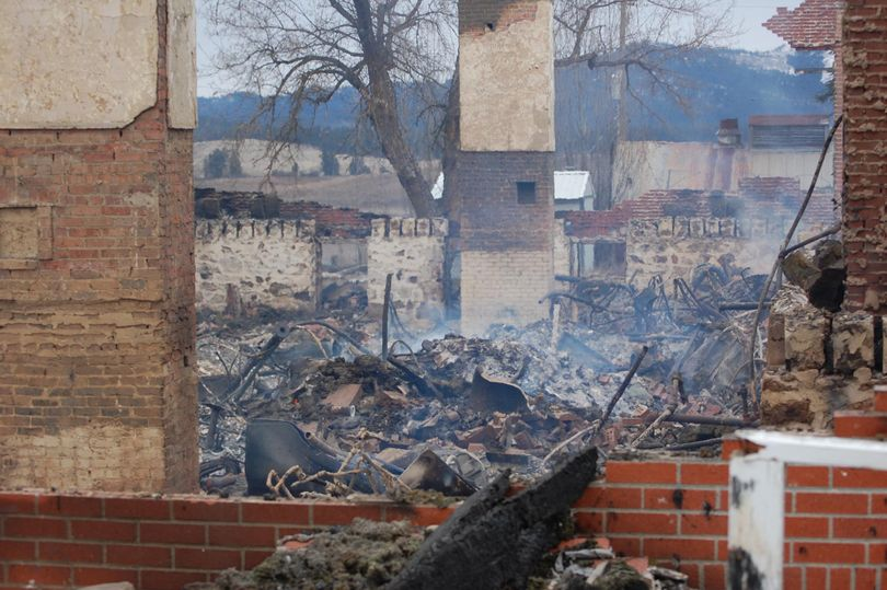 The Coeur d'Alene Tribe's Sisters Building was destroyed in an early-morning fire on Thursday, Feb. 3, 2011, in DeSmet, Idaho. Tribal police are currently investigating the cause of the fire.   (Courtesy Stewart / Courtesy of Marc Stewart, Coeur d'Alene Tribe)
