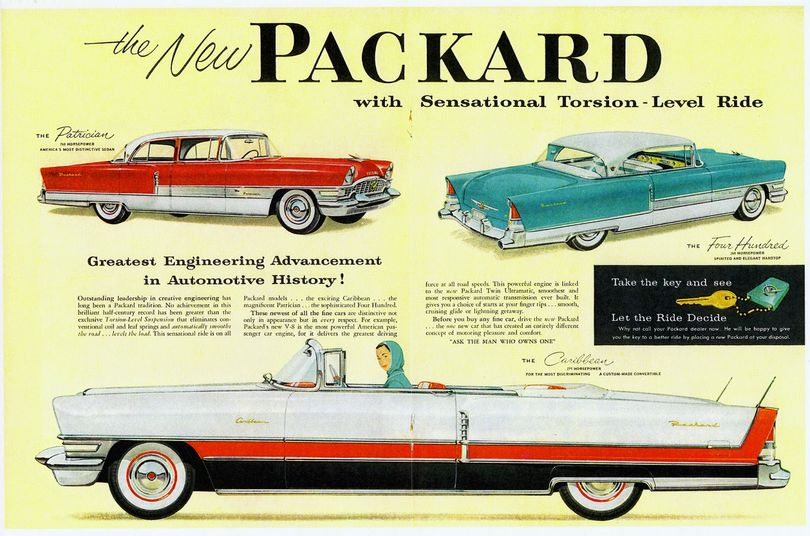 The beautiful 1955 Packard line included the Patrician, Caribbean and Four Hundred models. However, Studebaker¹s management missteps hadn¹t hit home yet and by 1958 Packards were Studebaker vehicles with facelifts. ( (Compliments of former Studebaker-Packard Corporation)