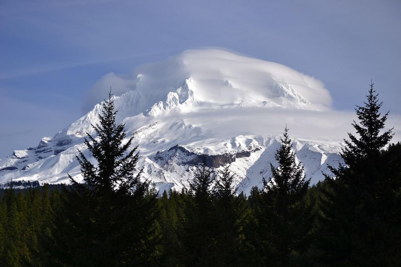 The dormant 11,245 foot volcano Mount Hood dominates the horizon in Northeastern Oregon. The territory surrounding the mountain offers outstanding recreational pursuits year round. (Timberline Lodge Mount Hood, Oregon)