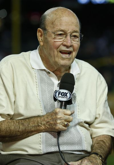 Arizona Diamondbacks broadcaster Joe Garagiola speaks during a pregame show prior to a baseball game against the Los Angeles Dodgers in April, 2013, in Phoenix. (Ross D. Franklin / Associated Press)