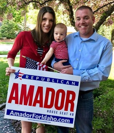 State Rep. Paul Amador, R-Coeur d'Alene, is shown with his wife, Julie, and their son, Peter, during Amador's 2018 re-election campaign.) (Courtesy)