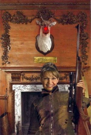A humorous photo illustration gag links Sarah Palin with the demise of Rudolph the red-nose reindeer. (Anonymous)