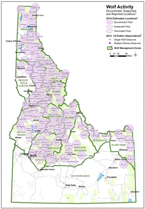 Idaho wolf packs and distribution reported at the end of 2014. (Idaho Department of Fish and Game)
