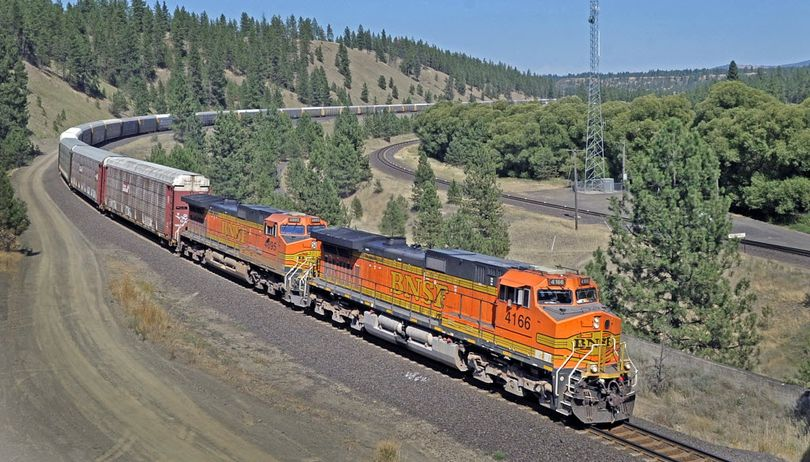 A BNSF freight train rolls through the Marshall area just south of Spokane Wash. (SR file photo)