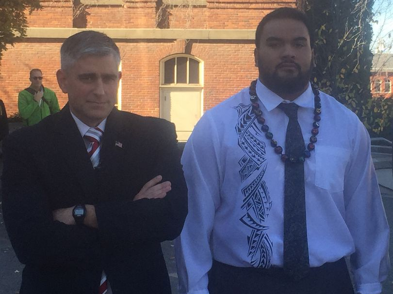 State Senator Michael Baumgartner and suspended WSU football player Robert Barber after the WSU regents meeting. (Jacob Thorpe / The Spokesman-Review)