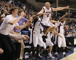 Gonzaga senior Andrew Sorenson jumps for joy  at the end of his last home game Tuesday night, March 3, 2009. COLIN MULVANY The Spokesman-Review (Colin Mulvany / The Spokesman-Review)