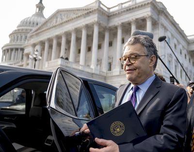 Sen. Al Franken, D-Minn., leaves the Capitol after speaking on the Senate floor, Thursday, Dec. 7, 2017, on Capitol Hill in Washington. (Andrew Harnik / Associated Press)