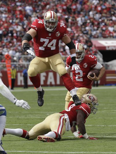 San Francisco 49ers offensive tackle Joe Staley (74) might be a possibility for the Seahawks, but it would take a financial commitment that the team doesn't usually make on the line. (Marcio Jose Sanchez / Associated Press)
