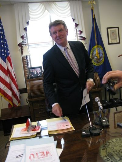 Gov. Butch Otter vetoed legislation last month to get lawmakers to act on his transportation funding initiative, which was stalled for months. (Betsy Russell / The Spokesman-Review)