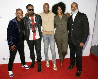 "Tommy Davidson, Shawn Wayans, Keenan Ivory Wayans, Kim Wayans and David Alan Grier attend the screening for ""Tribeca TV: In Living Color – 25th Anniversary Reunion From the Finale"" during the 2019 Tribeca Film Festival at Spring Studios on April 27, 2019, in New York.  (Brent N. Clarke/Associated Press)"