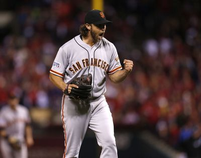 Madison Bumgarner made seven playoff appearances for the world champion Giants.