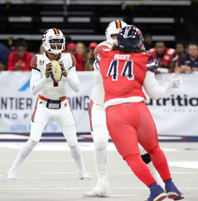Spokane Shock quarterback Charles McCullum completed 19 of 24 passes for 206 yards and three touchdowns against the Sioux Falls Storm on Saturday in Sioux Falls, South Dakota.  (Courtesy of Josh Jurgens)