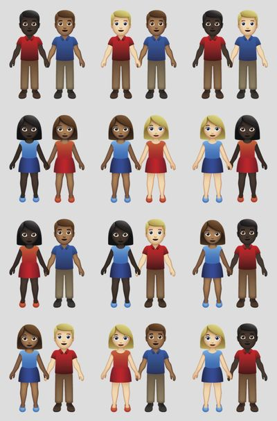 A illustration provided by Tinder/Emojination shows the new variations of interracial emoji couples. (Associated Press)