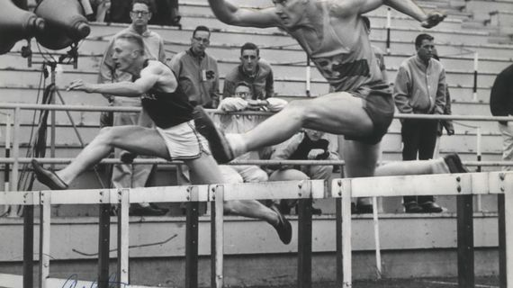 Former Rogers track standout Denny Driskill, right, races against Ritzville's Spike Arlt in 1956.  (The Spokesman-Review)
