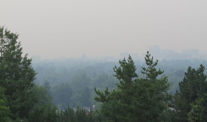 Boise's ghostly skyline, barely visible from the foothills, as air quality hits unhealthy levels on Tuesday morning, Sept. 5, 2017. (Betsy Z. Russell)