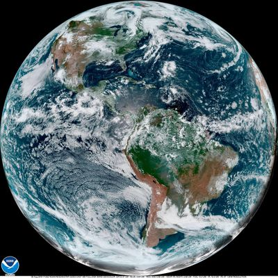 This Thursday, Aug. 8, 2019 satellite photo made availalble by NOAA shows cloud patterns over the Western Hemisphere. On Thursday, Aug. 8, 2019, the National Oceanic and Atmospheric Administration's Climate Prediction Center said the Atlantic season looks more active than normal as peak hurricane season begins. Forecasters now expect 10 to 17 named storms, with five to nine hurricanes and two to four major ones. (Associated Press)