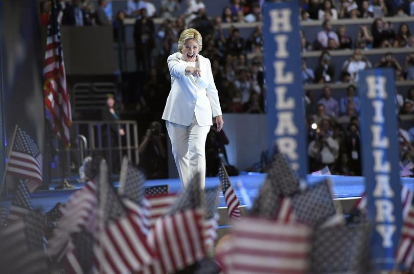 Hillary Clinton takes the stage before accepting the Democratic presidential nomination Thursday night in Philadelphia. (Mark J. Terrill / Associated Press)