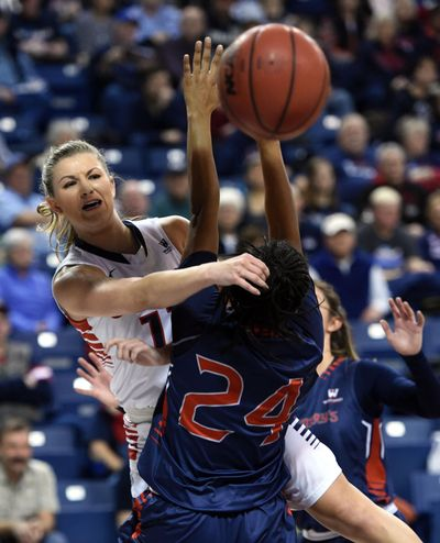 Gonzaga guard Laura Stockton (11) makes a pass around Saint Mary's guard Samira McDonald (24) during the first half of a woman's college basketball game, Thur., Jan. 21, 2016, in the McCarthey Athletic Center. COLIN MULVANY colinm@spokesman.com (Colin Mulvany / The Spokesman-Review)