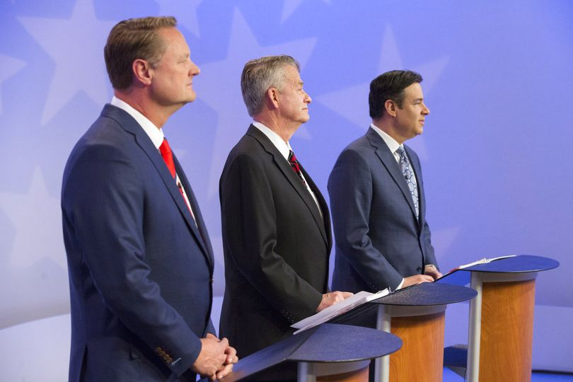 From left, Tommy Ahlquist, Brad Little and Raul Labrador debate on Monday night, April 23, 2018, in the