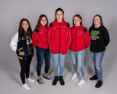 2020 All-GSL girls wrestling (from left): Kelsey Loeun (Mead), Kendra Perez (North Central), Kilee Callaghan (North Central), Abby Piper (North Central), Alisha Stewart (Shadle Park). On Wednesday Idaho approved a girls wrestling state tournament.  (COLIN MULVANY)