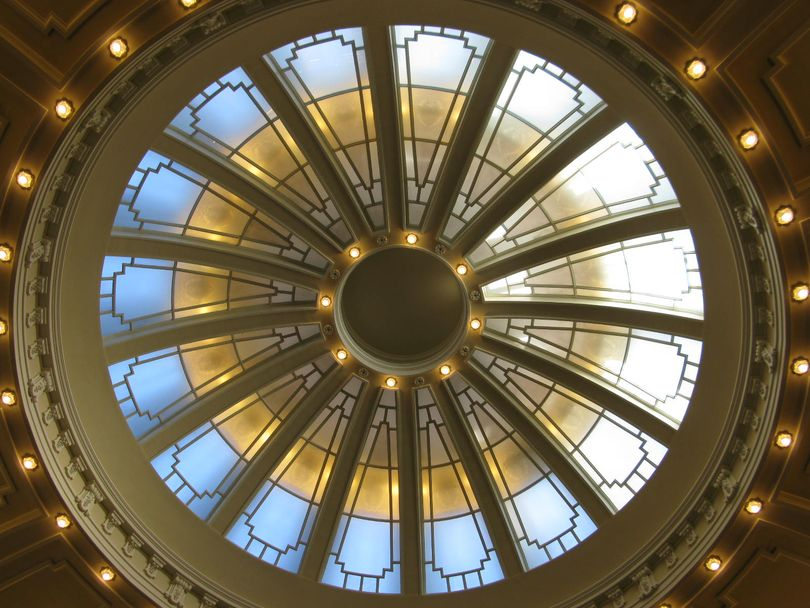 Domed ceiling of the Idaho Senate chamber (Betsy Z. Russell)
