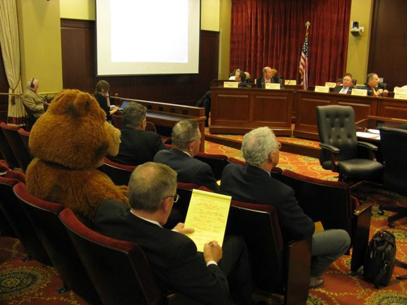 The crowd at an oversight hearing on sage grouse Monday afternoon included one audience member dressed as a big, fuzzy bear. (Betsy Russell)