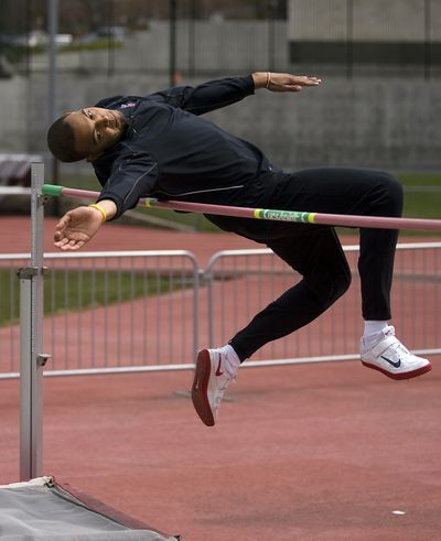 WSU sophomore Shawn Swartz practices the high jump at Mooberry Track. (KEVIN QUINN)