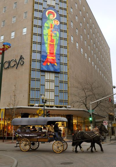The Madonna on Macy's was created in 1957 and remodeled in 1973 is a holiday tradition in downtown Spokane. (Colin Mulvany / The Spokesman-Review)