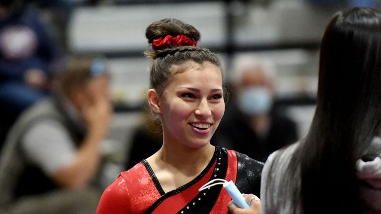 Ferris High School's Maile Rocha smiles before competing in the the GSL gymnastics championships at Mead Gymnastics Center on Wed. June 9, 2021  (Kathy Plonka/The Spokesman-Review)