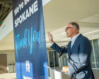 Gov. Jay Inslee speaks to the media about government-imposed COCID-19 restrictions, June 30 at the Pavilion in Riverfront Park.  (COLIN MULVANY/THE SPOKESMAN-REVIEW)