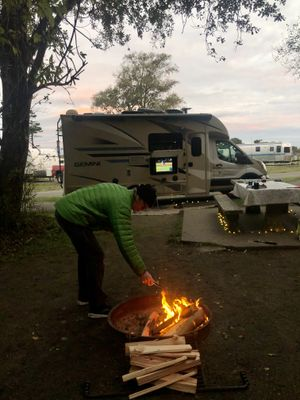 We cheered on the Los Angeles Dodgers to the team's World Series win at our campsite at Fort Worden State Park near Port Townsend. (Leslie Kelly)