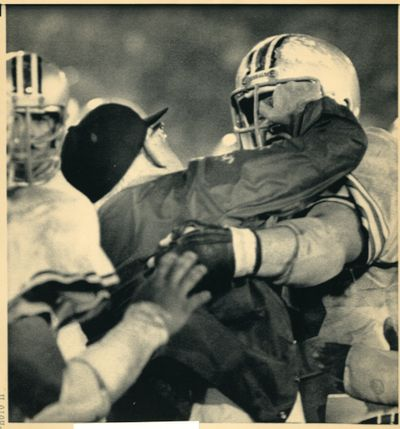 Associated Press After Ohio State coach Woody Hayes punched a Clemson player in the 1978 Gator Bowl he went after one of his own, Ken Fritz, who tried to restrain Hayes. The incident result in the firing of Hayes. (Associated Press)