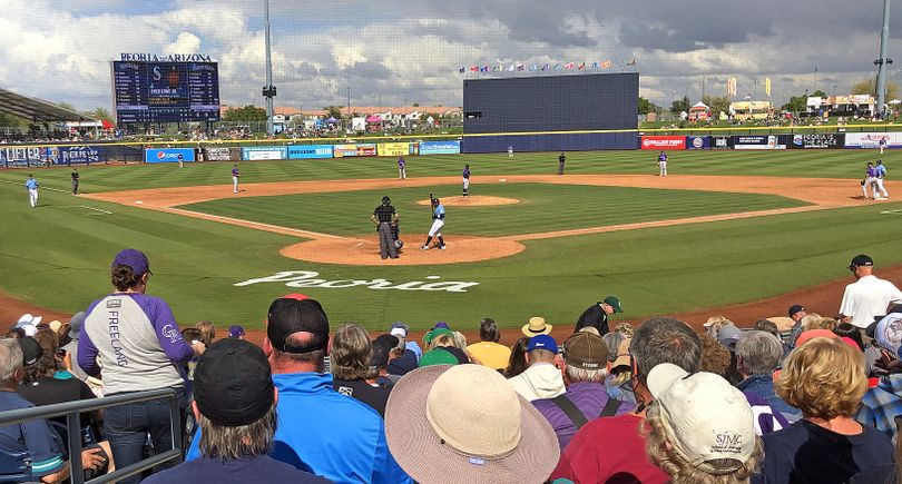 The Mariners take on the Rockies at Peoria Sports Complex in Arizona last march. (Leslie Kelly)