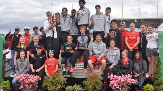 The Cheney boys track and field team celebrates after winning the 2018 State 2A title in Tacoma. (Cheney Athletics / Courtesy)