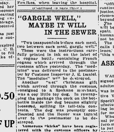 Postal and custom inspectors were busy attempting to prevent illegal liquor from arriving in Prohibition-era Spokane.  (Spokane Daily Chronicle)