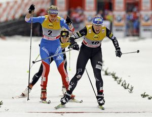 Kikkan Randall of the USA, right, wins the Free Sprint Final in front of second placed Natalia Matveeva of Russia, left, during the Cross Country World Cup in Duesseldorf, Germany, Saturday, Dec. 3, 2011. The next day, she finished second in the sprint relay, teaming with Sadie Bjornsen of Winthrop. The World Cup is held on artificial snow in the heart of the western German city of Duesseldorf, close to the river Rhine. (Associated Press)