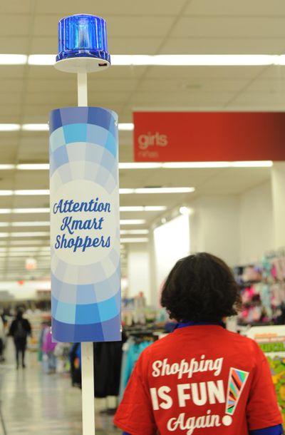 IMAGE DISTRIBUTED FOR KMART - The iconic Bluelight Special fixture flashes to announce a Bluelight Special taking place in a New York City store on Saturday, Nov. 7, 2015. Kmart Bluelight Specials are back every single day, in every single store plus online and via mobile app. Bluelight Specials are the original flash sale, first introduced in 1965. (Diane Bondareff / AP Images for Kmart) ORG XMIT: CPANY455 (Diane Bondareff / Ap Images)