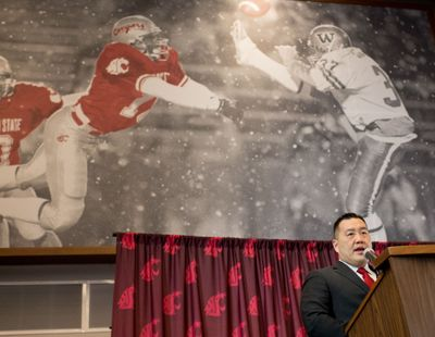 Patrick Chun, WSU's new athletic director speaks during an introductory press conference on Tuesday, January 23, 2018, in the Rankich Club Room at Martin Stadium in Pullman, Wash.  (Tyler Tjomsland / The Spokesman-Review)