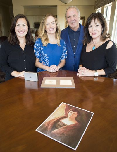 Left to right, Amy Greene, Sara Beth Prendeville and parents Frank and Terry Brown have joined other descendants of Marie Burns for a family reunion this week in Spokane. Burns owned the Jewel Box gift shop in the Davenport Hotel for 33 years after it opened in 1923. (Colin Mulvany / The Spokesman-Review)