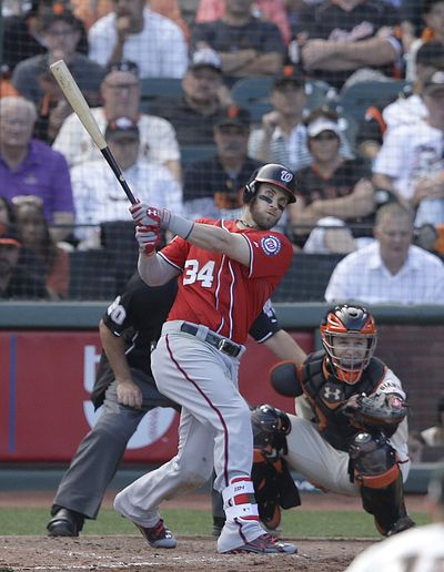 Bryce Harper's solo home run in the ninth punctuated Washington's 4-1 win in San Francisco as the Nationals avoided being swept aside. (Associated Press)