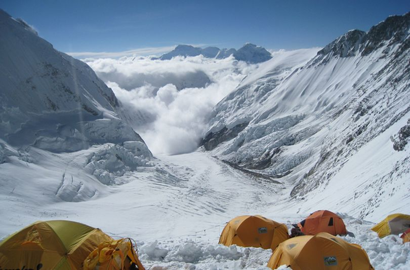 On Mount Everest, a fistfight allegedly broke out near Camp Three, between climbers and Sherpas. This file photo shows the view from Camp Three at 24,000 feet on the mountain's Lhotse Face. (Associated Press)