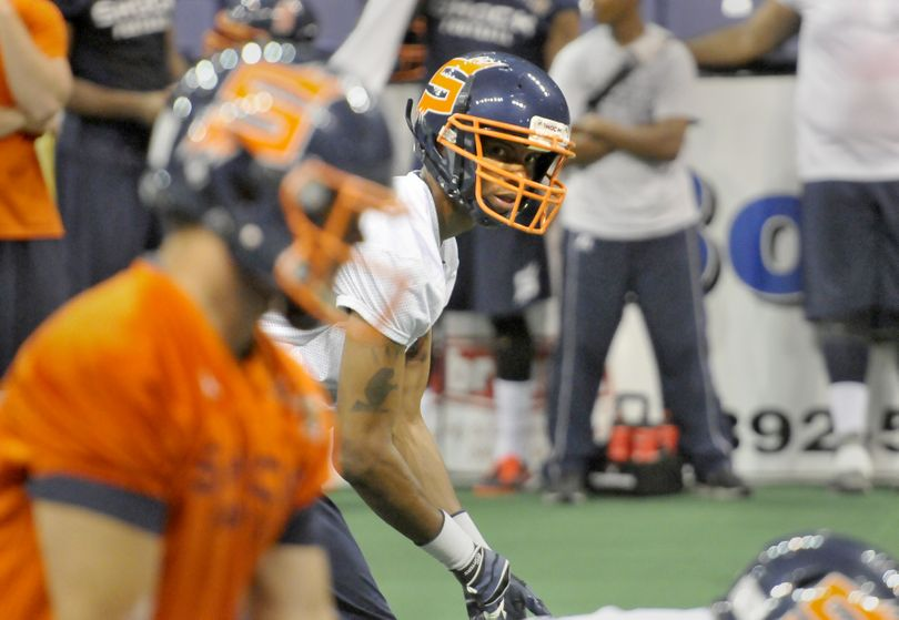 Spokane Shock receiver Adron Tennell, up for multiple AFL awards, led the league in receptions (156) and touchdown catches (49). (Jesse Tinsley)