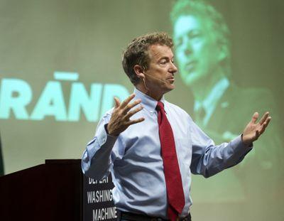 U.S. Sen. Rand Paul of Kentucky addresses supporters Wednesday at the Doubletree Hotel in Spokane. (Dan Pelle)