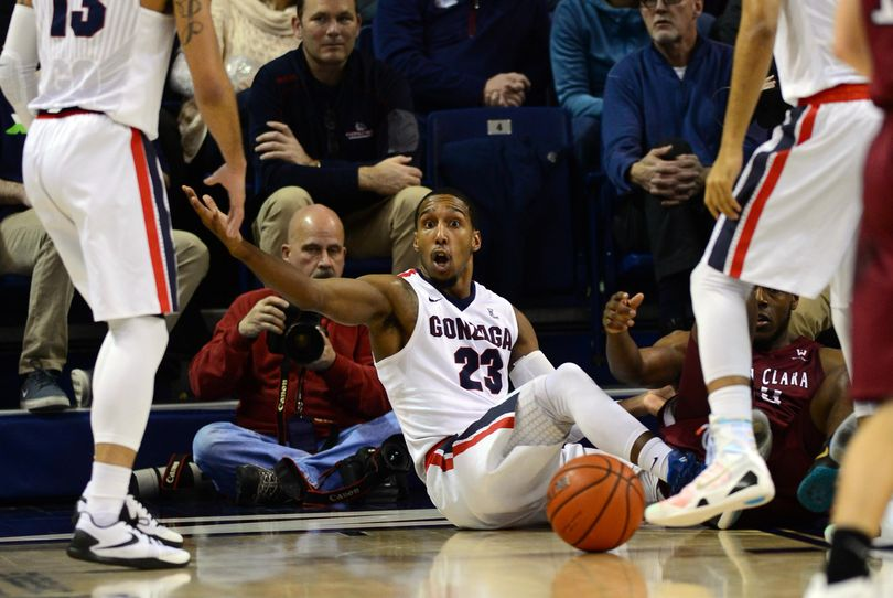 Gonzaga guard Eric McClellan reacts to being called for a foul during the second half on Thursday against Santa Clara. McClellan says fans will see a better defensive effort against San Francisco on Saturday. (Colin Mulvany / The Spokesman-Review)