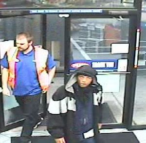 The man in the black coat robbed the Tesoro gas station at 228 S. Thor in Spokane on Tuesday, Sept. 22, 2015, Spokane police said in a news release. This photo was provided by police from a store camera. (Courtesy Spokane Police Department)