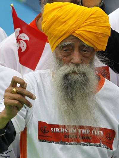 Centenarian marathon runner Fauja Singh didn't take up the sport until he was 89 years old. (Associated Press)